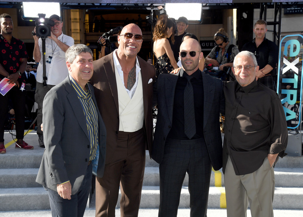 Jeff Shell, Dwayne Johnson, Jason Statham and Ron Meyer Fast and Furious Presents Hobbs and Shaw World Premiere Hollywood Los Angeles