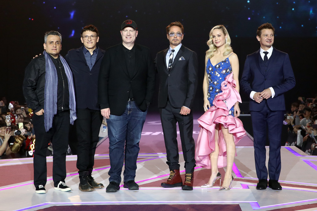 Joe and Anthony Russo, Kevin Feige, Robert Downey Jr, Brie Larson and Jeremy Renner Avengers Endgame Seoul Premiere South Korea