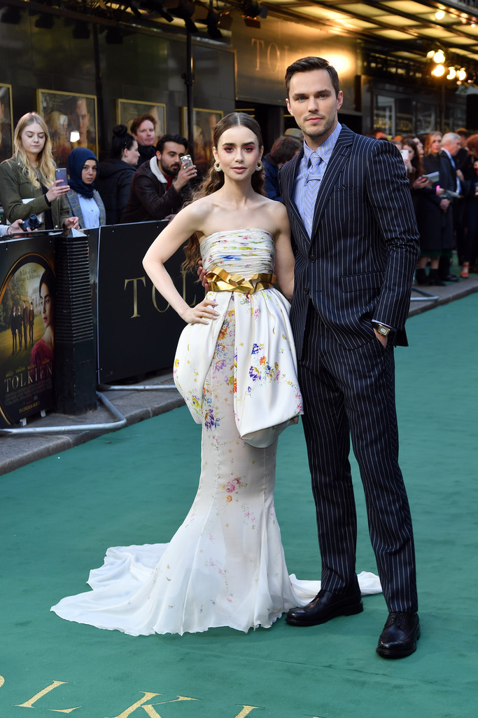 Lily Collins and Nicholas Hoult Tolkien UK Premiere London