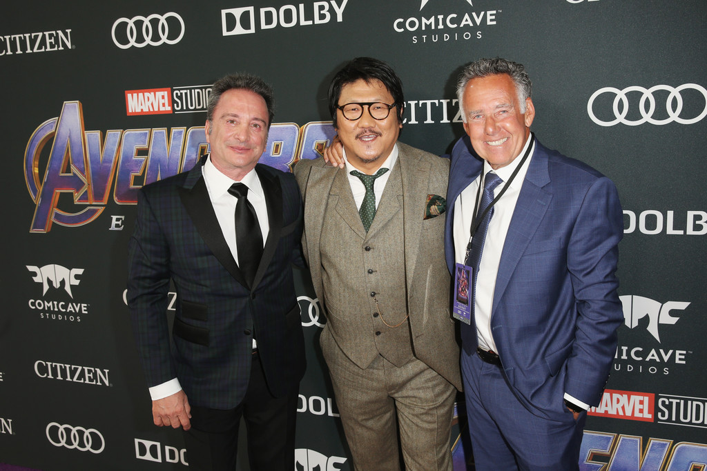 Louis D'Esposito, Benedict Wong and Michael Grillo Marvel Avengers Endgame World Premiere Los Angeles Hollywood