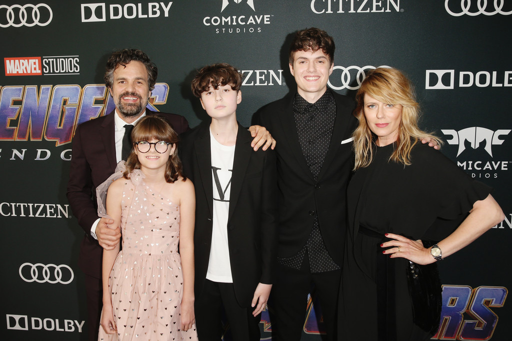 Mark Ruffalo, Sunrise Coigney and family Marvel Avengers Endgame World Premiere Los Angeles Hollywood