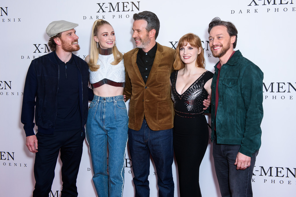 Michael Fassbender, Sophie Turner, Simon Kinberg, Jessica Chastain and James McAvoy X Men Dark Phoenix London Fan Event