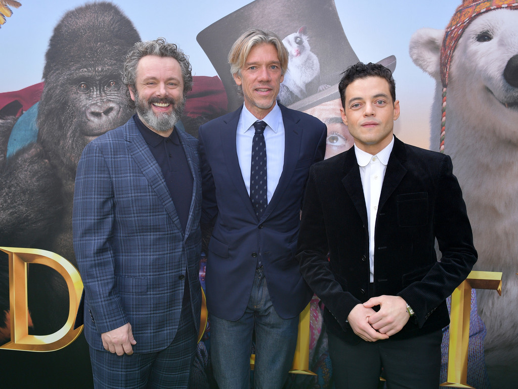 Michael Sheen, Stephen Gaghan and Rami Malek Dolittle Premiere Los Angeles Hollywood