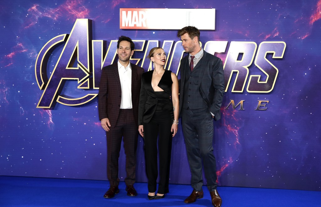 Paul Rudd, Scarlett Johansson and Chris Hemsworth Avengers Endgame UK Premiere London