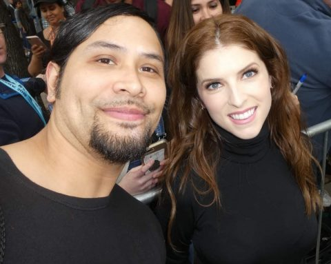 Jason Jude Hernandez with Anna Kendrick at The Day Shall Come premiere in Austin, Texas