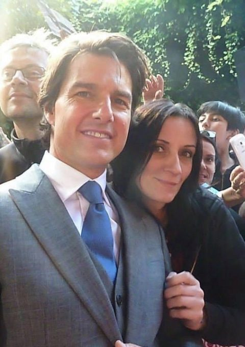 Guenola Guitton with Tom Cruise at the Mission Impossible 5 premiere in London