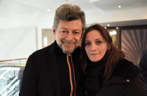 Guenola Guitton with Andy Serkis at The Kid Who Would Be King premiere in London
