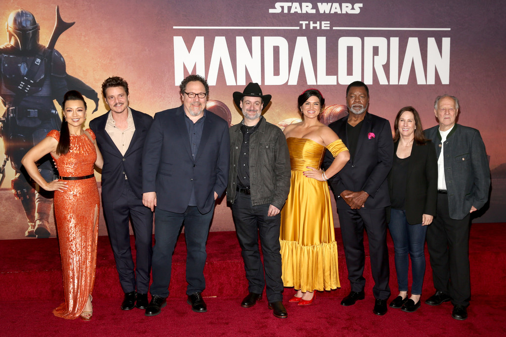 Cast and crew The Mandalorian Disney+ World Premiere Hollywood Los Angeles