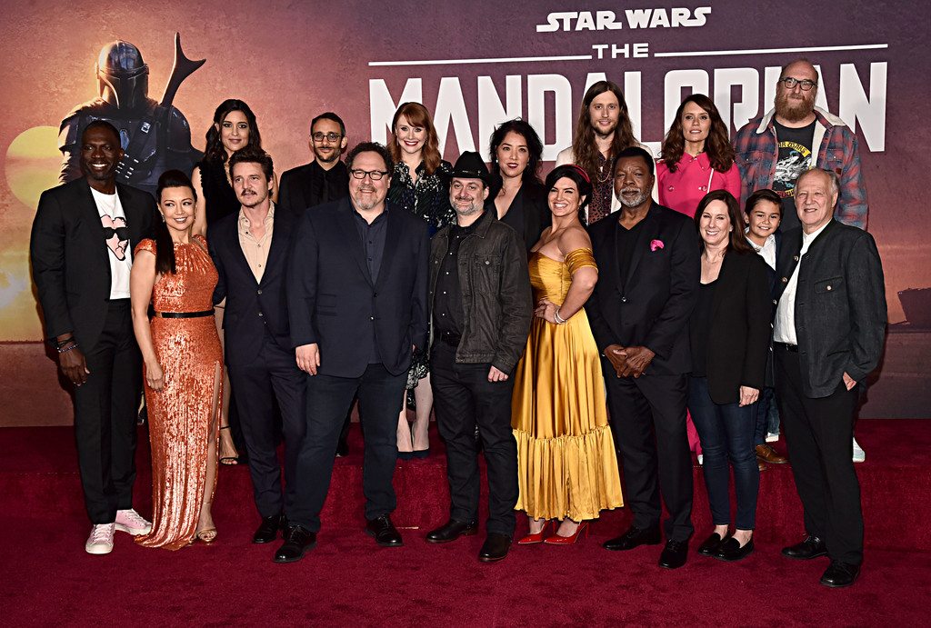Cast and crew of The Mandalorian Disney+ World Premiere Hollywood Los Angeles
