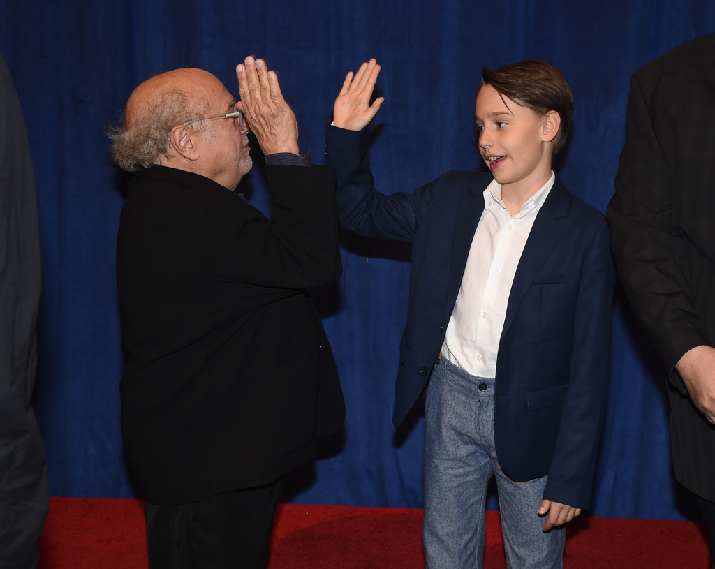 Danny DeVito and Finley Hobbins Disney Dumbo Los Angeles Premiere