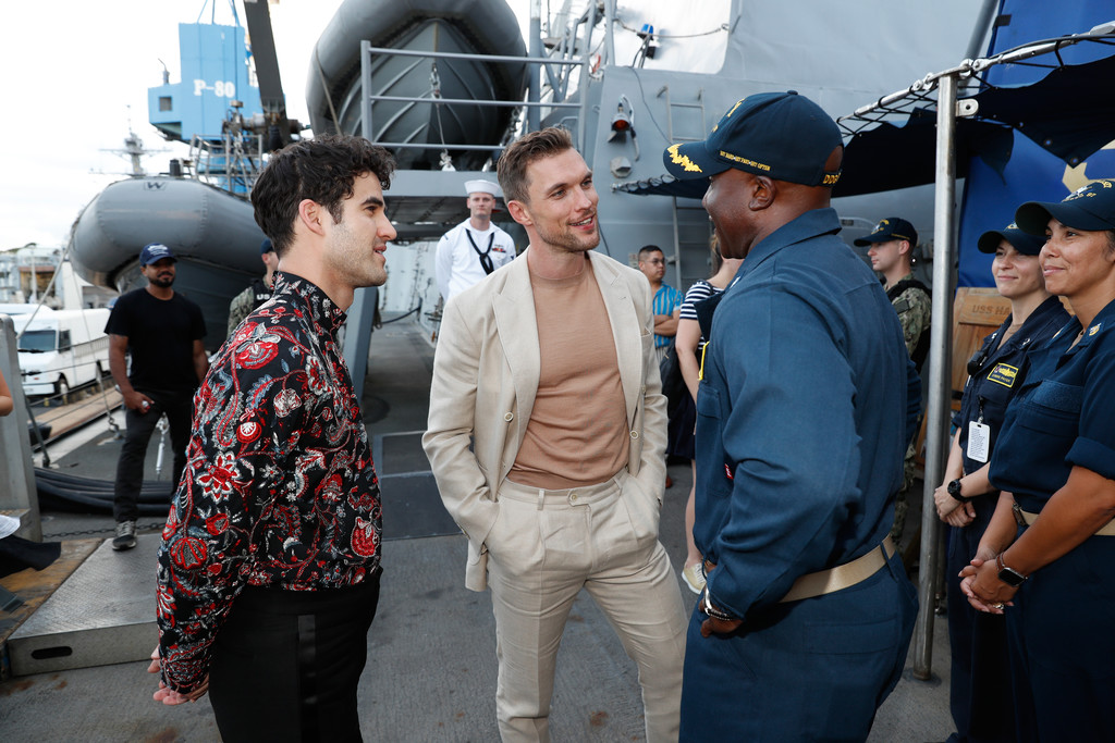 Darren Criss and Ed Skrein with sailords aboard the USS Hasley Midway Special Screening Honolulu Hawaii
