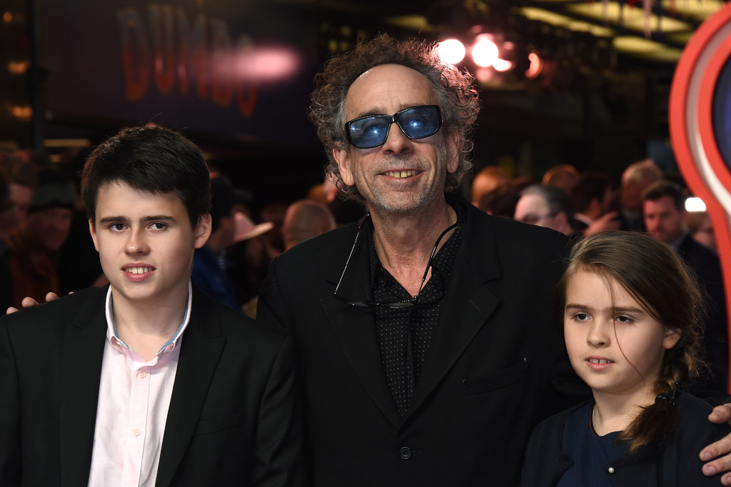 Director Tim Burton and children Billy and Nell Disney Dumbo European Premiere London