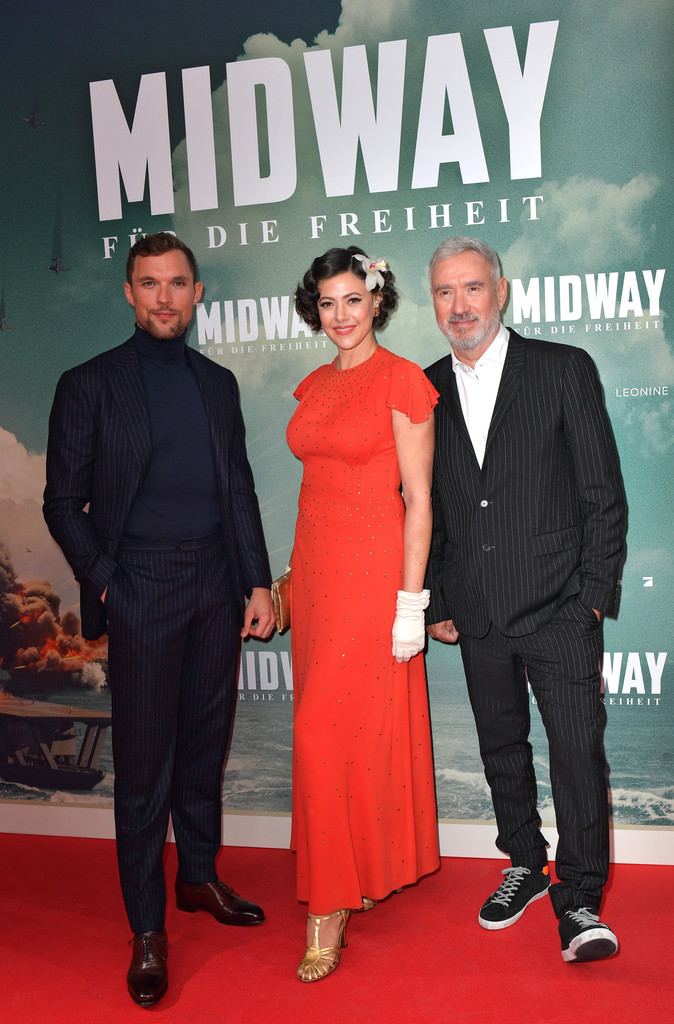 Ed Skrein, Ana Maria Lombo and Roland Emmerich Midway Premiere Munich Germany Arrivals