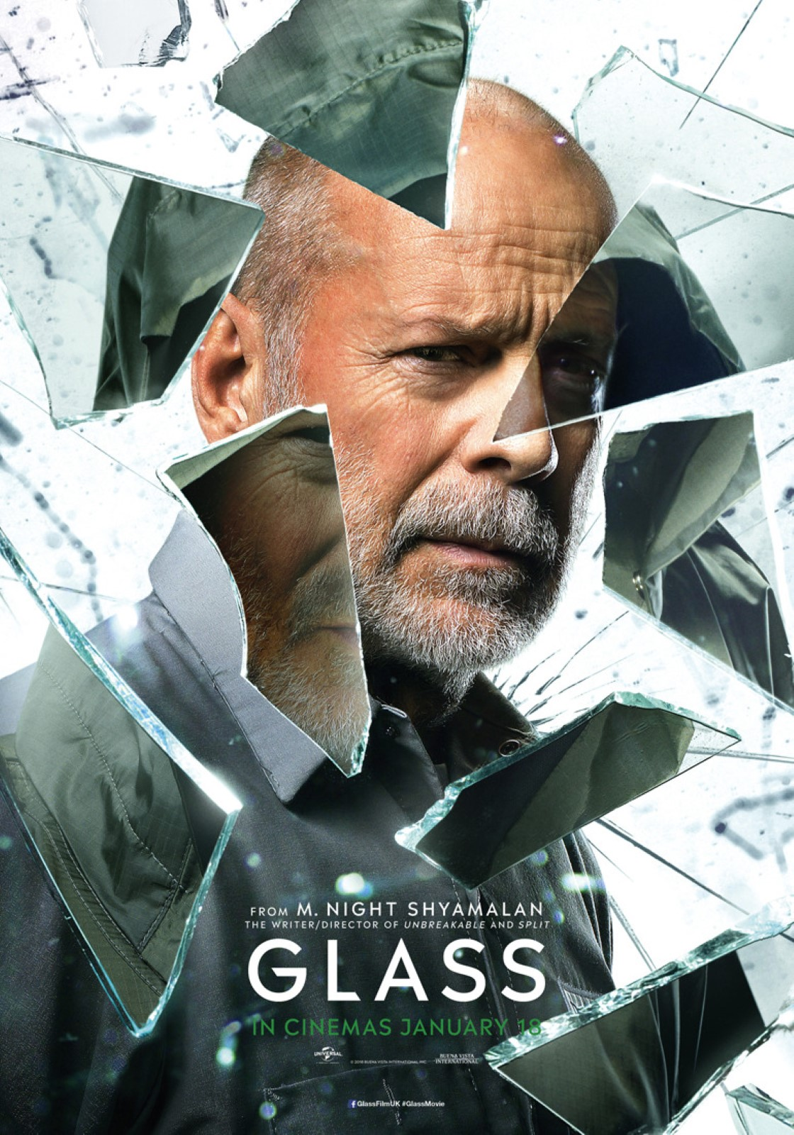 Glass Character Posters Bruce Willis as David Dunn The Overseer