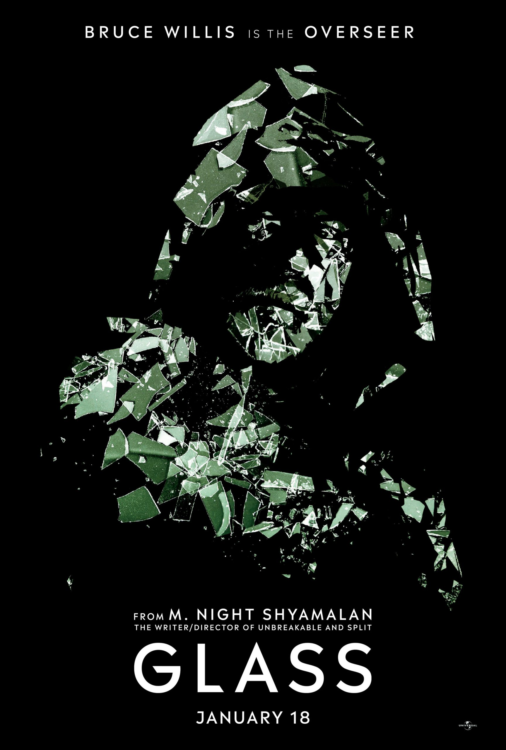 Glass Character Posters Bruce Willis is the Overseer