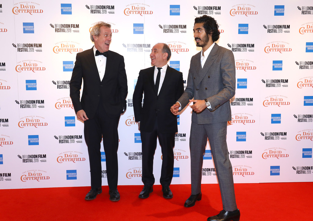 Hugh Laurie, Armando Iannuicci and Dev Patel The Personal History of David Copperfield European Premiere BFI London Film Festival 2019 London Arrivals