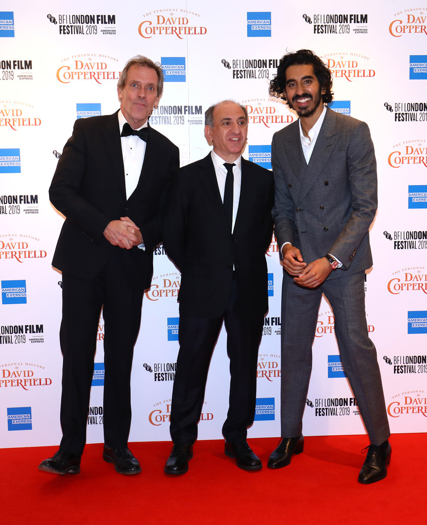 Hugh Laurie, Armando Iannucci and Dev Patel The Personal History of David Copperfield European Premiere BFI London Film Festival 2019 London Arrivals