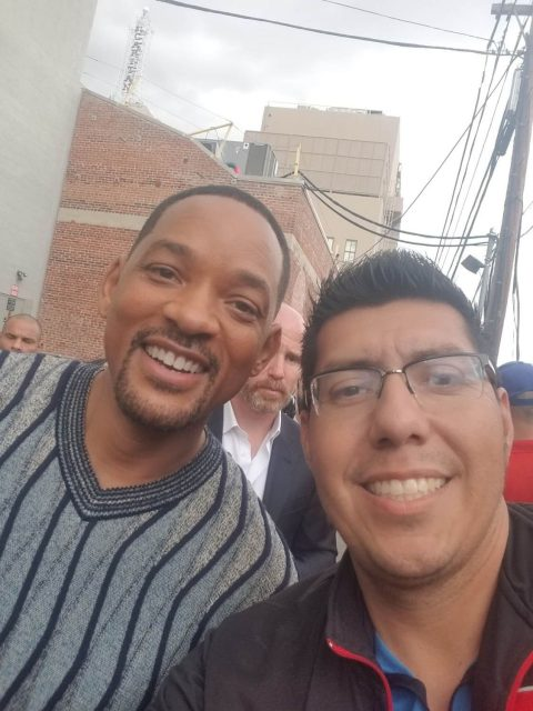 Ivan Ramirez with Will Smith at the Aladdin premiere in Hollywood