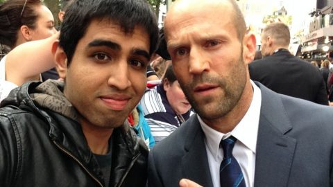 Ashwin Nair with Jason Statham at the Spy premiere in Odeon Luxe Leicester Square, London
