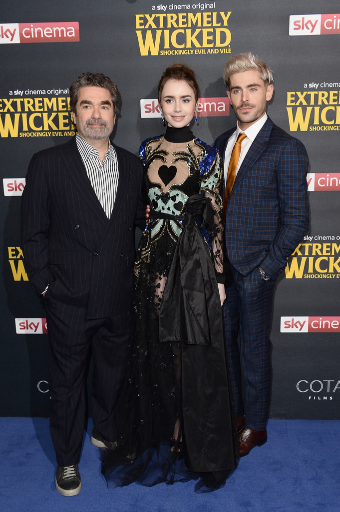Joe Berlinger, Lily Collins and Zac Efron Extremely Wicked Shockingly Evil and Vile European Premiere London