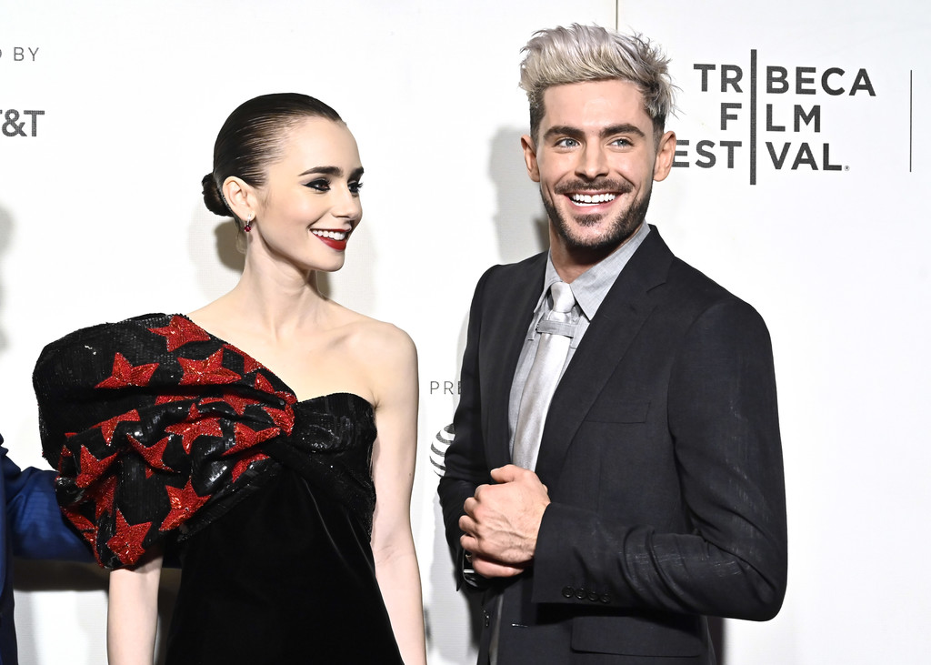 Lily Collins and Zac Efron Extremely Wicked Shockingly Evil and Vile Tribeca Film Festival Premiere New York City Arrivals