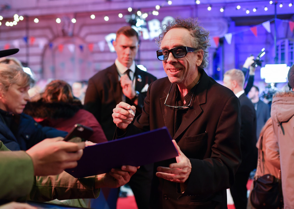 Tim Burton with fans Disney Dumbo European Premiere London