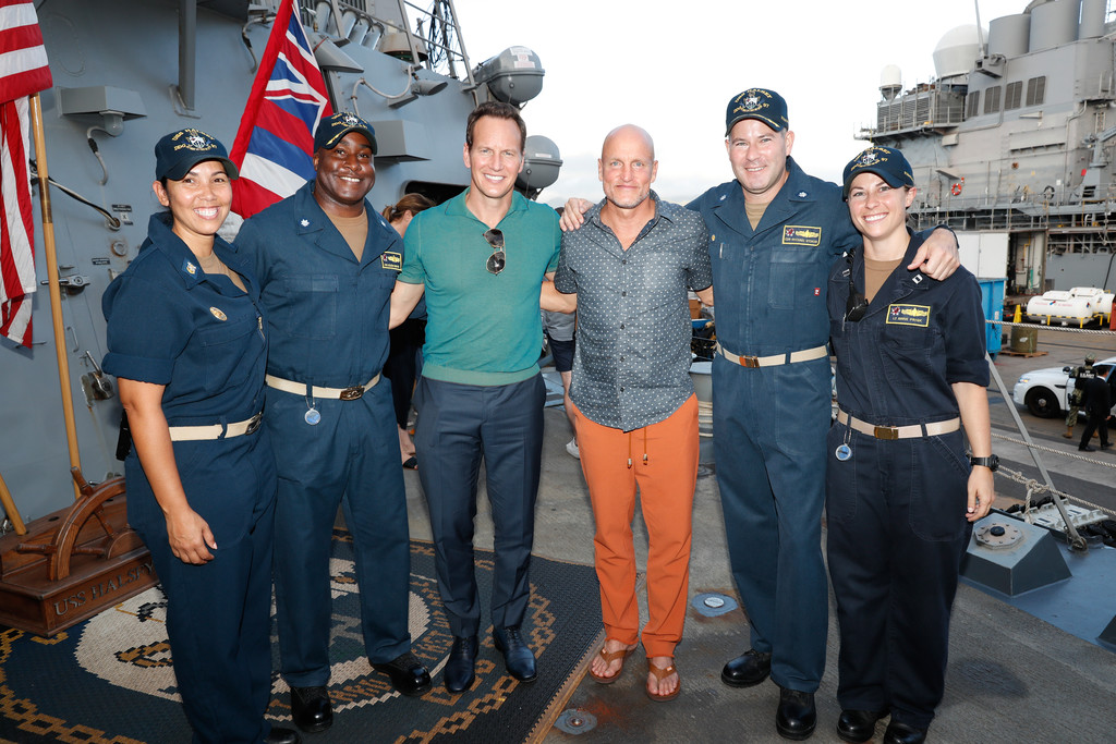 Woody Harrelson and Patrick Wilson sailors aboard USS Hasley Midway Special Screening Honolulu Hawaii