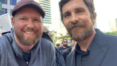 Brian Nolet with Christian Bale at the Ford vs Ferrari premiere at the Toronto International Film Festival