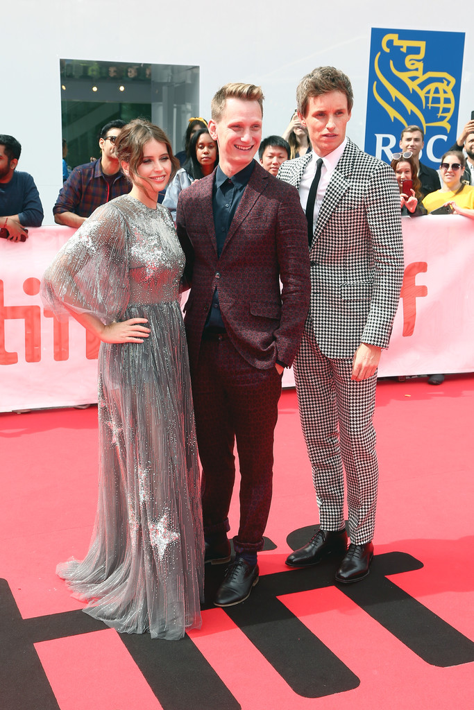 Felicity Jones, Tom Harper and Eddie Redmayne The Aeronauts Toronto International Film Festival Premiere TIFF