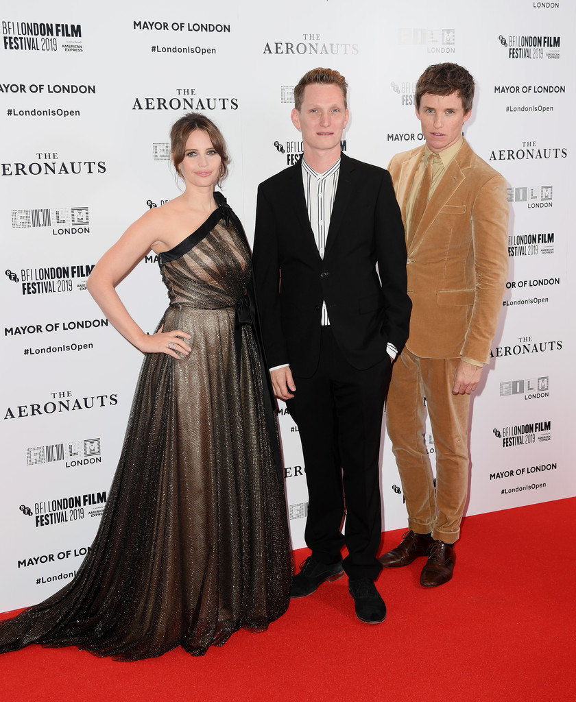 Felicity Jones, Tom Harper and Eddie Redmayne The Aeronauts UK Premiere 63rd BFI London Film Festival Premiere