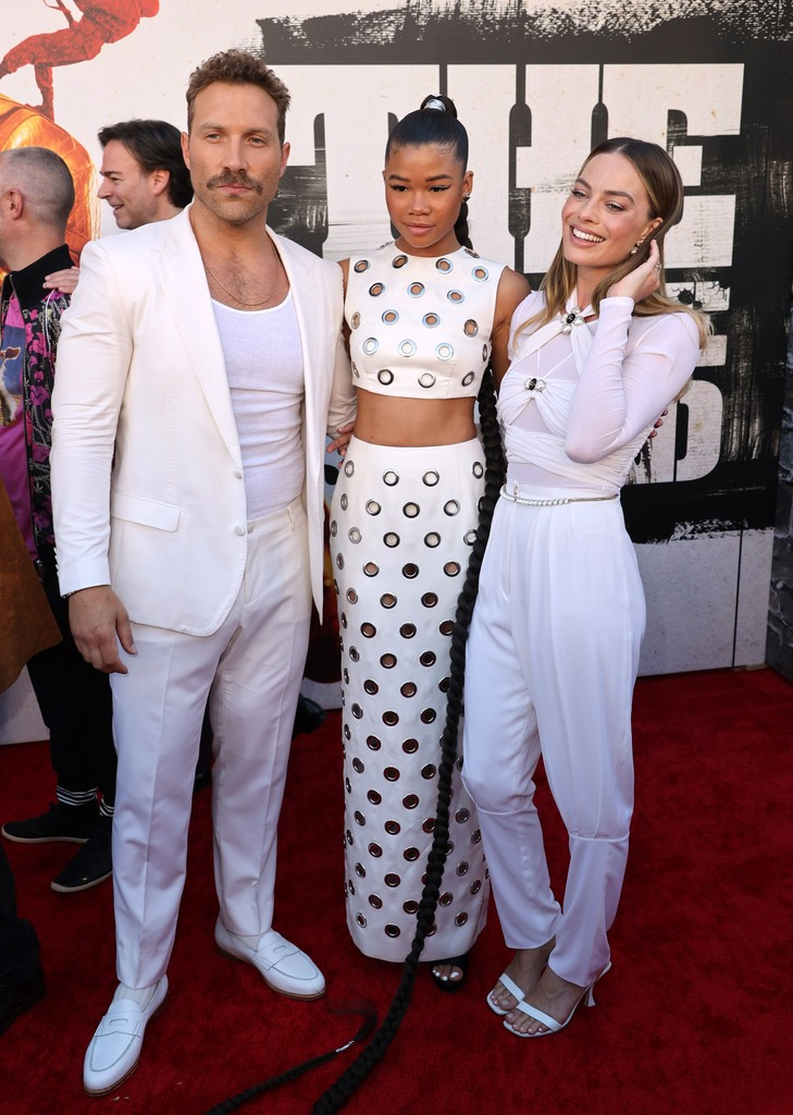 Jai Courtney, Storm Reid and Margot Robbie attend the world premiere of 'The Suicide Squad' in Los Angeles on August 02, 2021