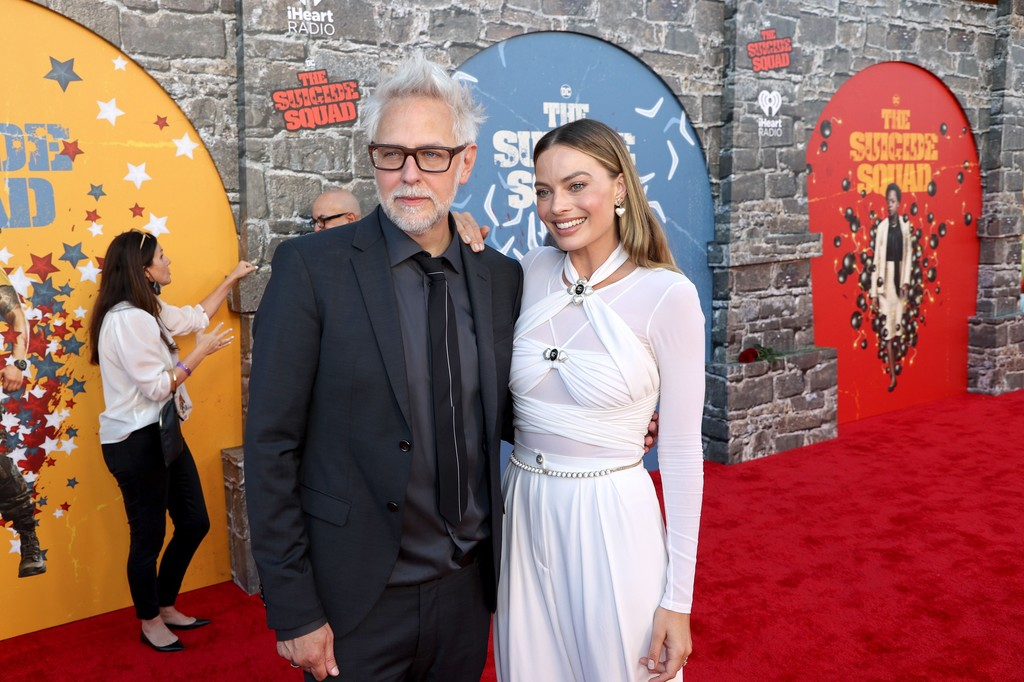 James Gunn and Margot Robbie attend the world premiere of 'The Suicide Squad' in Los Angeles on August 02, 2021