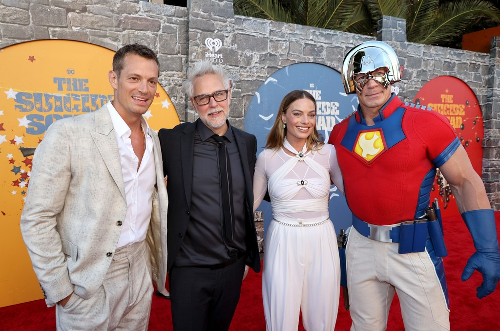 Joel Kinnaman, James Gunn, Margot Robbie and John Cena attend the world premiere of 'The Suicide Squad' in Los Angeles on August 02, 2021