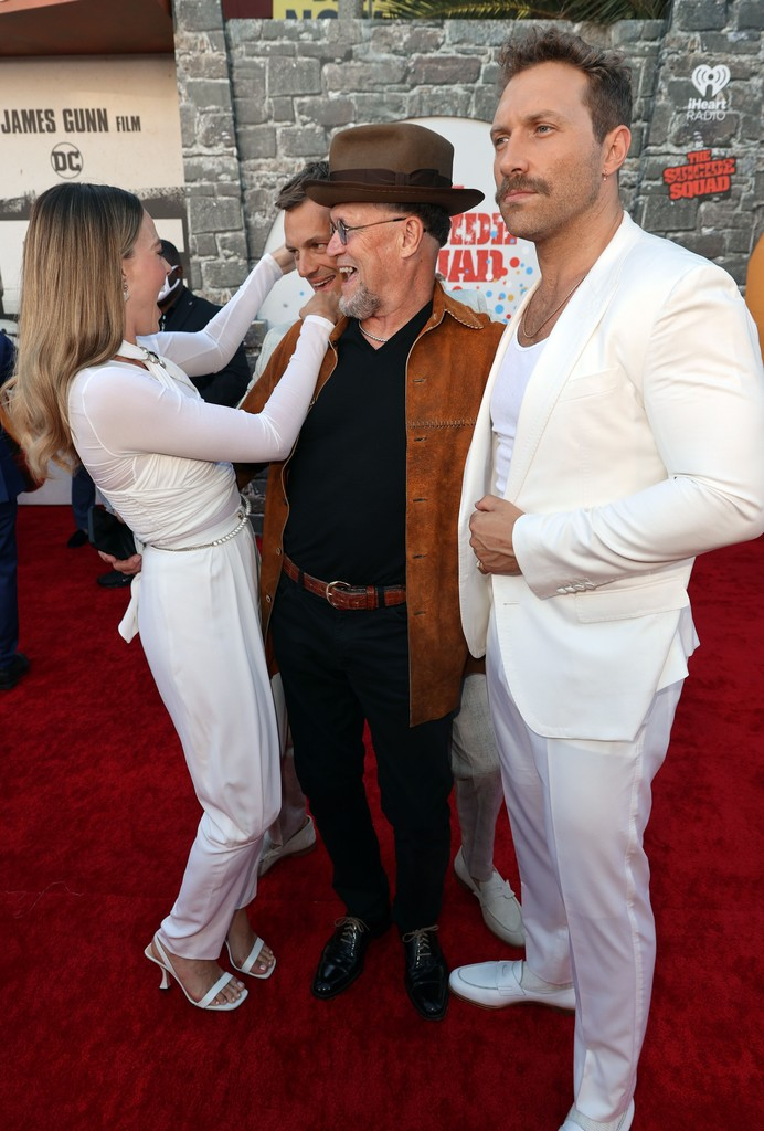 Margot Robbie, Joel Kinnaman, Michael Rooker and Jai Courtney attend the world premiere of 'The Suicide Squad' in Los Angeles on August 02, 2021