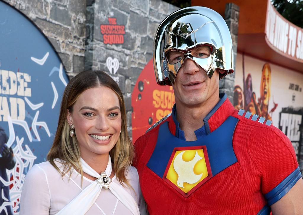 Margot Robbie and John Cena attend the world premiere of 'The Suicide Squad' in Los Angeles on August 02, 2021